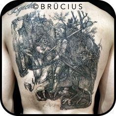 BRÜCIUS #TATTOO #SF #Albrecht #Dürer #knight #death #devil #back #inprogress #linework #blackink #etching #engraving #gettingthere #linesonly #work