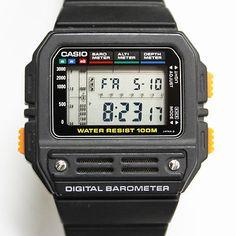 Genuine Casio Bm-100wj Mens Digital Barometer Altimeter Lcd Black Sport Watch