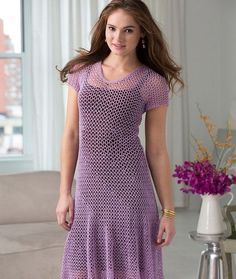Dress with Flare Free Crochet Pattern from Aunt Lydia's Crochet Thread