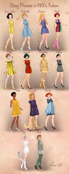 Disney Princesses in 1960s Fashion by Basak Tinli by BasakTinli