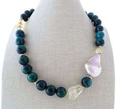 Chrysocolla necklace and earrings set, yellow citrine necklace, beaded necklace, uk gemstone jewelry, mauve pearl necklace, stone choker by Sofiasbijoux on Etsy