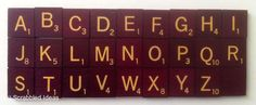 SCRABBLE TILES - Deluxe Maroon Burgundy / Cream Wooden Letters sold individually