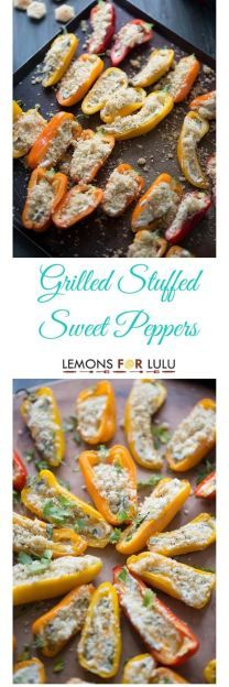 Mini stuffed bell peppers are grilled until they are soft and caramelized. Each pepper is filled with two cheeses, bacon and kale! A nice little appetizer, snack or even side! lemonsforlulu.com #ChoppedAtHome #ad @SargentoCheese