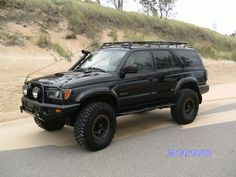 Black Gen 3 Toyota Sport with Custom Roof Rack, Snorkel, Front Bumper and Limb Risers 4runner Off Road, Toyota 4runner Sr5, Toyota 4x4, Toyota Trucks, Toyota Girl, 4x4 Off Road, Toyota Sequioa, Overland 4runner, Carros Toyota