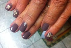 Medium brown with light brown hand painted flowers