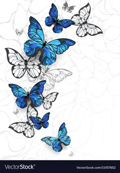 Flying Blue Butterflies morpho and white butterflies on a light abstract backgro. - Flying Blue Butterflies morpho and white butterflies on a light abstract background. White Butterfly Tattoo, Butterfly Tattoo Meaning, Butterfly Drawing, Butterfly Tattoo Designs, Butterfly Painting, Simple Butterfly, Monarch Butterfly, Vintage Butterfly, Butterfly Sleeve Tattoo