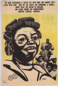 """""""We have experienced a bitter life with dark and hungry days filled with pain. Now we the people are demanding a change...""""  Emory Douglas wasn't the only artist to have work featured on the Black Panther Party's newsletter. Gaye Dickson, who went by the name """"Asali,"""" also produced images for the paper. Many of Asali's images were of children and strong women from the Black community - Artist: Gayle Dickson"""
