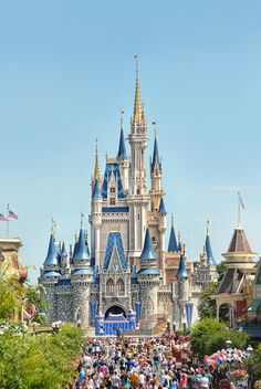 Cinderella's Castle standing at the top of Main St, in Orlando, Florida_ USA