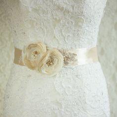 Bridal dress sash belt wedding floral lace Pearls by LeFlowers, $108.00