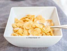 Super Protein Cereal - 2 scoops Protein 17, Organic cereal of your choosing, and 1 cup water. Add the Protein 17 to the water and mix well then use as a substitute for milk to top the cereal. This is a really easy way for you to boost your protein intake at breakfast.
