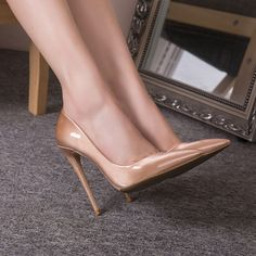 Women Sexy Nightclub High Heels Shoes Patent Leather Pointy Toe Pumps Stilettos