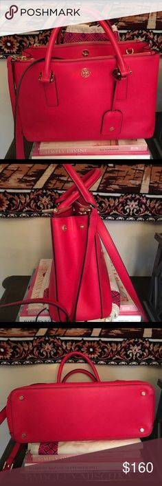 Red Tory Burch Bag Re-posh! This bag is too large for me which is why I'm getting rid of it, includes TB dust bag, I've only had it a few weeks and never used it since it's too big. Tory Burch Bags Totes