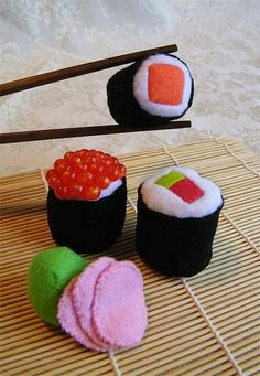 3 Felt Sushi Rolls with Pickled Ginger and Wasabi Pincushions or Display Pieces by Autumn2May, via Flickr