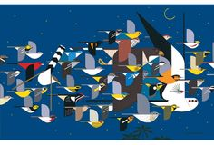 """""""Mystery of the Missing Migrants"""" by Charley Harper. I particularly like his depictions of birds."""