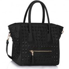 Womens Shoulder Bags New Ladies Designer Handbags Fashion Studded Tote Large Fashion Handbags, Tote Handbags, Purses And Handbags, Studs And Spikes, Rocker Chic, Large Bags, Leather, Shoulder Bags, Gothic Fashion