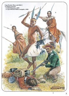 Cape Frontier Wars,mid C. Native American Images, Native American Indians, African Culture, African History, Military Art, Military History, African Warrior Tattoos, Xhosa, African Royalty