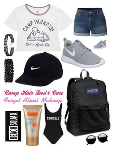 """Camp Wear"" by pinkstars6 ❤ liked on Polyvore featuring Billabong, LE3NO, NIKE, JanSport, Bling Jewelry, ADRIANA DEGREAS, New Look, casualoutfit, camp and summer2016"