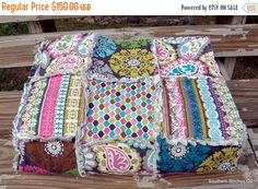 Original Price...175.00....  Ready To Ship Large Throw Lap Rag Quilt Cozy Modern Patchwork Home Decor Bedding This beautiful modern rag quilt