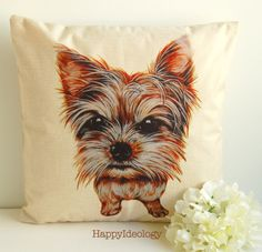 Yorkie Cushion Cover.Yorkshire Terrier Pillow by HappyIdeology