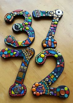 Custom mosaic house numbers. ....by Tina @ Wise Crackin Mosaics