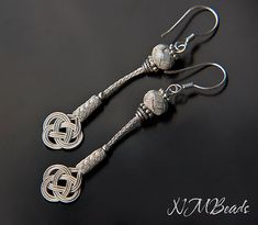 Pure Silver Celtic Knot Long Earrings Infinity Love Knot