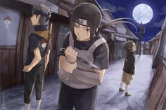 We are the soldiers of the night. Shisui, Itachi, and Sasuke