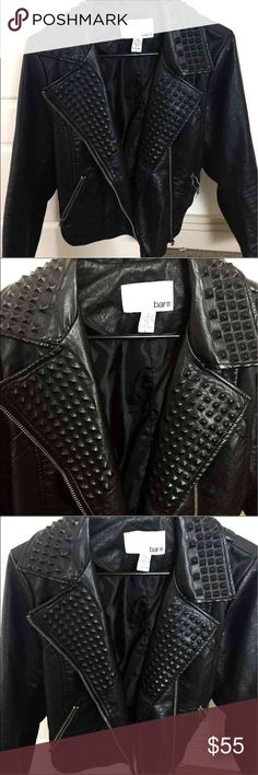 Bar ||| Leather Studded Jacket bar ||| faux-leather jacket, size L, black studded embroidery on collar, in great condition and barely worn, knit lining under sleeves. Retailed at $119!! Bar III Jackets & Coats