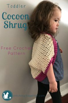 Free Toddler Cocoon Shrug pattern perfect for kids! This easy and quick crochet cocoon cardigan is the perfect crochet top to make for your little girl!  #crochet #crocheting #crochettops #crochetpattern #crochetforkids #freepattern