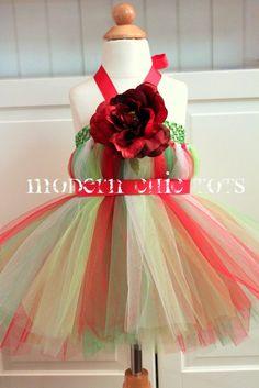 Holly Jolly Christmas Tutu Dress by ModernChicTots on Etsy, $62.00