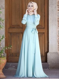 Shop Wrap Dress - Mint in Dresses category. Modanisa your online muslim modest fashion store. Cheap Lace Wedding Dresses, Maxi Dress Wedding, Modest Wedding, Abaya Fashion, Modest Fashion, Fashion Dresses, Trendy Fashion, Abaya Mode, Mode Hijab