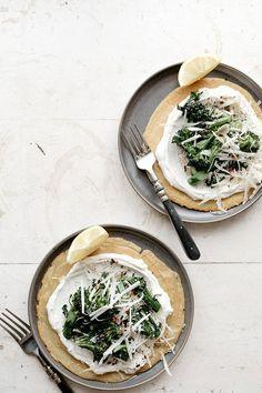 socca with yogurt and garlic broccolini | my name is yeh
