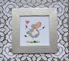Sheep cross stitch - Completed cross stitch - Love wall decor - Valentine day art - Framed cross stitch -  Romantic gifts