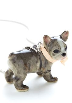 Bulldog in a China Shop Necklace. As if your afternoon working in the housewares boutique could be any more precious, donning this porcelain french bulldog charm necklace by And Mary tips the scale. #multi #modcloth