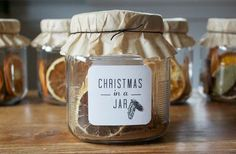 Christmas in a Jar gift...place spices of Christmas in a jar with directions to add boiling water to scent the home.
