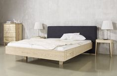 Wooden double bed with upholstered headboard ANNA Mamma Collection by sixay furniture