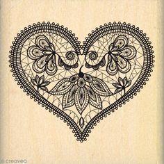 Sello de madera Corazón encaje - 50 x 50 mm - Fotografía n°1