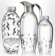 Beautiful packaging for Seryab water. There are two versions - a special glass bottle and serving carafe system for restaurants and bars, an. Water Bottle Design, Glass Water Bottle, Glass Bottles, Bottled Water, Water Packaging, Bottle Packaging, Vintage Dressing Tables, Mineral Water, Glass Design