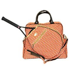 Ame & Lulu Ladies Tennis Tour Bags - Astor (Tangerine & Khaki)