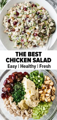 The BEST Chicken Salad Recipe - Chicken salad is a classic recipe, but this is the best version! Diced chicken is tossed with cream - Grape Recipes, Easy Salad Recipes, Healthy Recipes, Healthy Salads, Healthy Nutrition, Healthy Eating, Best Chicken Salad Recipe, Chicken Recipes, Chicken Salad Healthy
