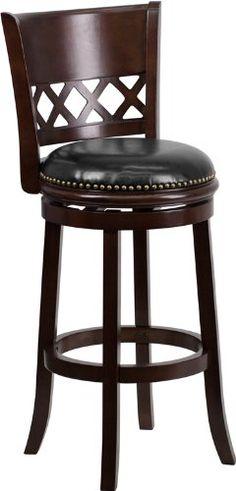 $106 leather. Flash Furniture TA-11029-CA-GG Cappuccino Wood Bar Stool with Black Leather Swivel Seat, 29-Inch Flash Furniture