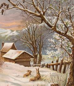 Winter scene with bunnies, a home, and mountains.