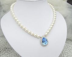 Pearl NecklaceSomething Blue Necklace Ivory or by DivineJewel, $55.00