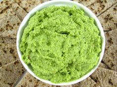 """Fabulously Healthy, Edamame, Spinach and Garlic Hummus. This """"skinnyfied"""" dip is loaded with such good-for-you ingredients, including spinach and edamame beans. And it's low in fat and calories! YUM!"""