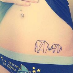 Origami elephant family tattoo on Sierra Crowell's hip. Origami Elephant Tattoo, Elephant Family Tattoo, Elephant Tattoos, Animal Tattoos, Geometric Elephant Tattoo, Geometric Tattoos, Feather Hip Tattoos, Flower Hip Tattoos, Little Tattoos