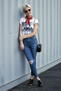 summer outfit, casual outfit, boho outfit, boho chic outfit, street style - red bandana, graphic t-shirt, crop skinny jeans, black mules, black shoulder bag, round sunglasses