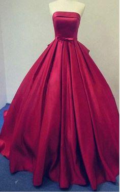 Dark Red Strapless Sleeveless Pleated Ball Gown Floor Length Satin Long Prom Dress