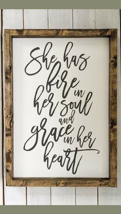 "She has fire in her soul and grace in her heart | Girl Room Decor | Girl Decor | Girl Art | approx 12"" x 18"" home sign, home decor, inspirational decor, farmhouse style, farmhouse sign, gift idea, rustic sign, rustic decor #ad #rustichomedecor"