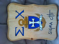 Sigma chi painted wooden plaque. Guy Harvey-inspired