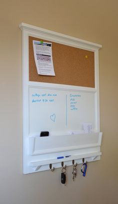 "27"" x 35"" tall Cork board and Dry Erase Board with Mail / Storage Organizer  - Key / Coat / Hat rack - RusTic - Home Decor"