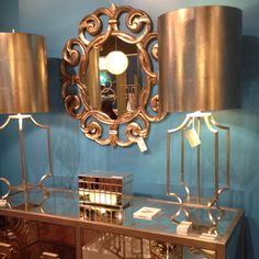 Style Spotter Shay Geyer spotted the beautiful Windham lamps in silver leaf in the Worlds Away InterHall showroom. Dark Blue Rooms, Comfort And Joy, European Furniture, Interior Decorating, Interior Design, Round Mirrors, Lamp Light, Home Goods, Irvine California